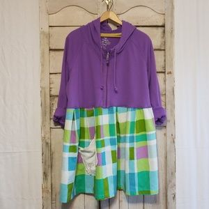 Upcycled Original Tunic Dress Purple Hoodie Plaid